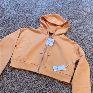 F21 Orange Cropped Hoodie
